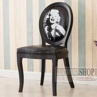 欧式实木餐椅美式复古乡村休闲椅时尚靠背咖啡椅现代简约书桌椅子