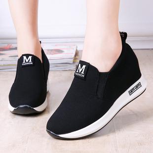 老北京布鞋坡跟内增高女鞋厚底女单鞋防滑乐福懒人鞋
