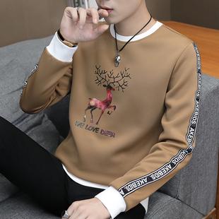 男士长袖t恤圆领春装上衣服青年帅气潮流卫衣宽松秋衣打底衫
