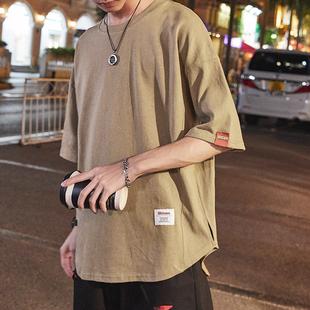 夏季简约短袖t恤男日系复古青年2018纯色半截袖潮牌圆领T恤衫