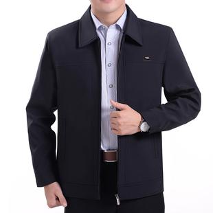 秋季中年男装上衣薄款外套夹克中老年人男士夹克衫爸爸装