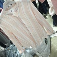 2016春装新款 韩国JUNE小清新立领竖条纹棉质衬衫女