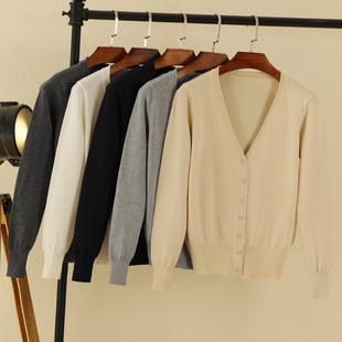 外搭春秋季短款长袖针织衫开衫宽松毛衣女chic早秋装薄款上衣外套