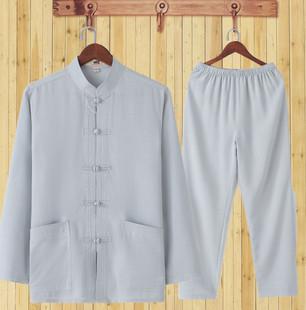 春秋季亚麻唐装男士长袖套装中老年爸爸夏装棉麻老人衣服爷爷装