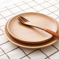 天然榉木日式简约木盘子圆形创意实木盘点心小吃木碟子蛋糕水果盘