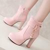 2018高跟鞋女短靴厚底粗跟粉色马丁靴女单靴秋冬季加绒女靴子
