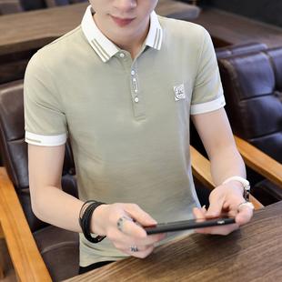 短袖青年纯棉翻领衬衫领polo衫潮流t桖男有领夏季带领t恤