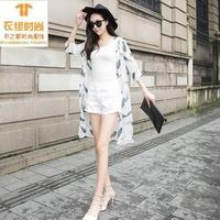 防晒女夏天新款半袖中长款雪纺衫超薄披肩外套防紫外线开衫包邮