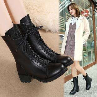 马丁靴女英伦风粗跟中筒短靴平底真皮加绒靴子中跟女靴秋冬季女鞋