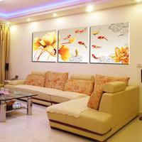 客厅装饰画现代简约壁画客厅挂画沙发背景墙餐厅招财九鱼图无框画