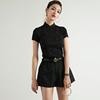 稀有概率旗袍立领气质上衣女夏短袖手工钉珠高弹黑色冰丝紧身T恤