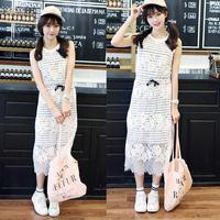 时尚百杜上衣夏装新款2016情侣装清新韩版女装蕾丝拼接连衣裙