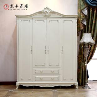 欧式四门衣柜白色 法式田园风格衣橱简约现代衣帽间储物柜收纳柜