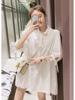 2019春夏装复古宽松中长款白色衬衫女很仙的洋气衬衣裙娃娃衫