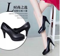 春季新款职业工装皮鞋女中跟单鞋礼仪工作女鞋圆头粗跟淑女高跟鞋