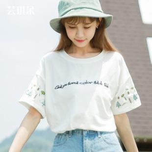2019纯棉t恤女夏装短袖白色学生ins森女系中袖甜美宽松小清新上衣