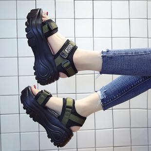 网红罗马凉鞋女仙女风2019夏季百搭厚底松糕鞋高跟鞋女士