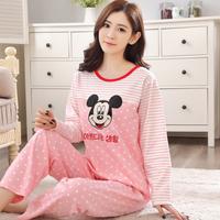 秋天少女长袖睡衣学生可爱米奇套头青少年韩版家居服冬季纯棉睡衣