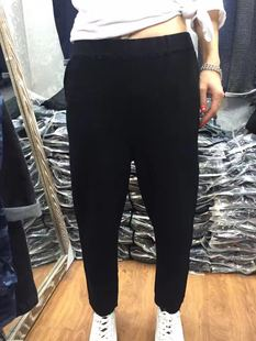 小丸子510 秋季女装裤子黑色针织小脚裤女式哈伦裤潮