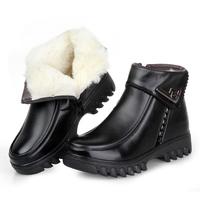 冬女短靴真皮羊毛棉鞋黑色英伦女靴子平底皮鞋妈妈鞋棉靴工装鞋潮