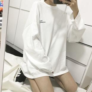 秋装女款2018中长款长袖T恤宽松套头打底衫女上衣情侣装