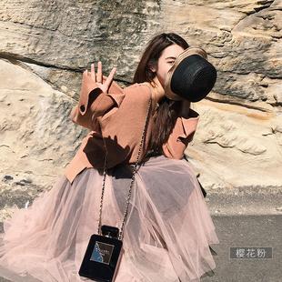 半身裙女夏张大奕2017显瘦a字裙百搭不规则仙女网纱半裙