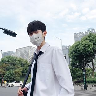 男士衬衫百搭长袖秋季立领上衣潮流白色衬衣纯色帅气秋装
