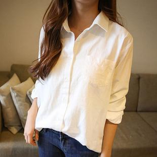 白色衬衫女冬长袖2018春装宽松衬衣上衣保暖秋装韩范加绒加厚