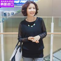 韩国妈妈装进口代2017春装新品时尚雪纺长袖外套 妈妈装网纱T恤衫