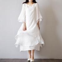夏秋季新品女神文艺清新复古风宽松禅意茶服仙女范白色连衣裙长裙