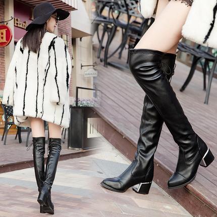 中长筒骑士靴女 2016秋冬款过膝长靴女中跟长筒靴瘦腿弹力靴子粗跟系带骑士靴