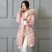 2016新款冬季韩版修身羽绒棉服大码显瘦加厚毛领棉衣女中长款外套