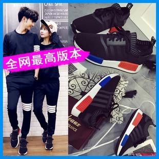 韩版运动鞋女 跑步鞋轻便透气休闲鞋 黑色网面系带运动鞋女夏百搭
