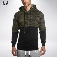 肌肉兄弟秋季新款迷彩连帽夹克 运动健身跑步男士潮流修身外套