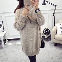 【天天特价】韩版秋装中长款百搭外套女毛衣圆领套头针织打底衫潮