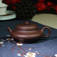 宜兴紫砂壶手工虚扁壶紫泥名家正品泡茶壶铁观音普洱紫砂茶具