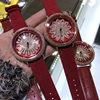高端满钻新年本命年大红色时来运转手表女时尚红色翻毛皮大盘腕表