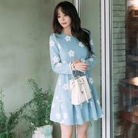 2016秋季新款女装清纯修身公主裙短裙气质优雅毛呢小花图案连衣裙