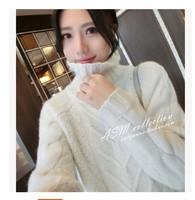 冬季高领羊绒衫女毛衣中长款宽松大码针织打底貂绒加厚套头羊毛衫