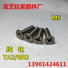 钛螺丝M5x6 8 10 12-40 沉头十字 DIN965纯钛平头十字Gr2平机