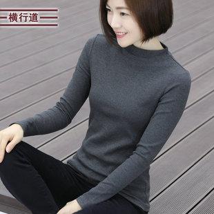 2019春装纯棉中领半高领妈妈打底春衣外穿长袖t恤女大码中年上衣