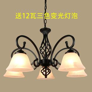 欧式美式客厅吊灯铁艺简约大气现代田园地中海卧室餐厅吸顶灯具饰