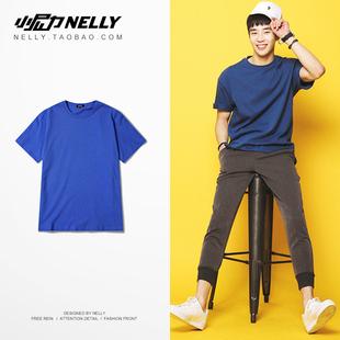ulzzang复古潮牌短袖T恤2018夏季纯色透气短袖t恤男女半袖