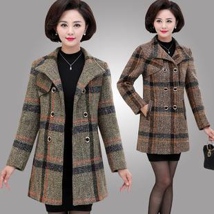 中年女秋冬加棉加厚毛呢大衣妈妈秋装外套40-50岁中长款气质呢子
