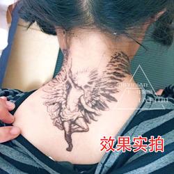 脖子后颈部堕落天使翅膀纹身贴 男女个性刺青大图刺青纹身贴