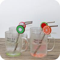 创意简约高硼硅透明水果玻璃杯子陶瓷马克杯带盖大容量不锈钢吸管