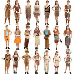 儿童野人表演服装 原始人印第安族人衣服 非洲部落野人猎人演出服