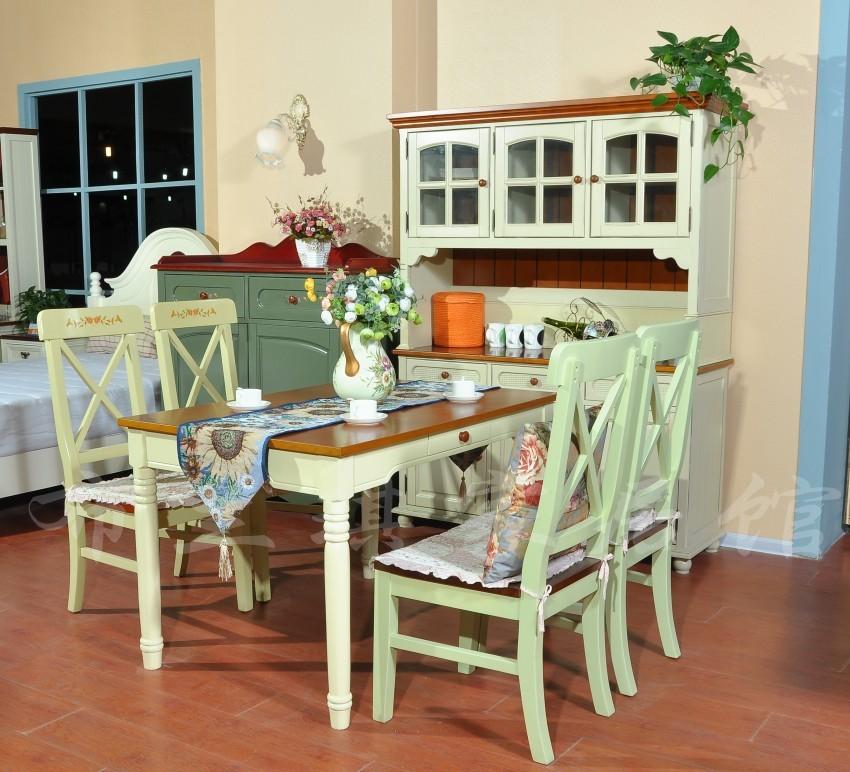 田园地中海美式乡村餐桌椅餐厅六人吃饭桌子小