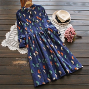 Autumn and winter corduroy dress long Sen female student folk style retro printing long sleeved dress shirt collar