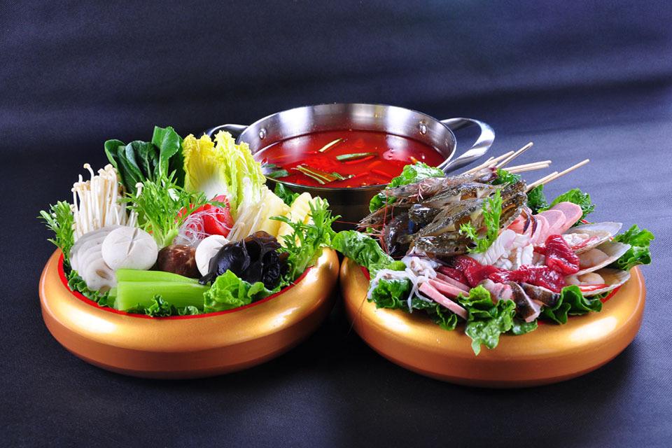 式海鲜三选一+肥牛配菜+锅底配菜+方法素菜拼猪肚子胀气的v海鲜肥羊图片